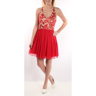Womens Red Spaghetti Strap Knee Length Fit + Flare Party Dress Size: 3