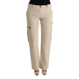 Ermanno Scervino Ermanno Scervino Beige Wool Cropped Regular Fit Pants - it42-m
