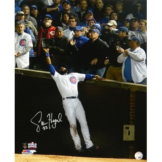 Jason Heyward Chicago Cubs 2016 World Series Catch Against Wall 16x20 Photo