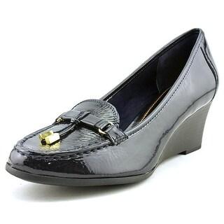 Lauren Ralph Lauren Rory Women  Open Toe Patent Leather Blue Wedge Heel
