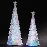 Set of 2 2-Piece LED Lighted Battery Operated Multicolored Christmas Tree