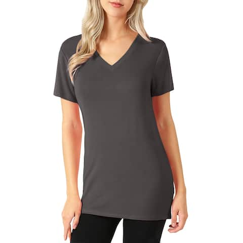 NE PEOPLE Womens Premium Basic Short Sleeve Hip Length Shirts Tops