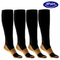 4 Pairs ODOLAND Elastic Compression Socks for Men Women, Non-shedding Moisture-wicking for Running Hiking Cycling-Size S