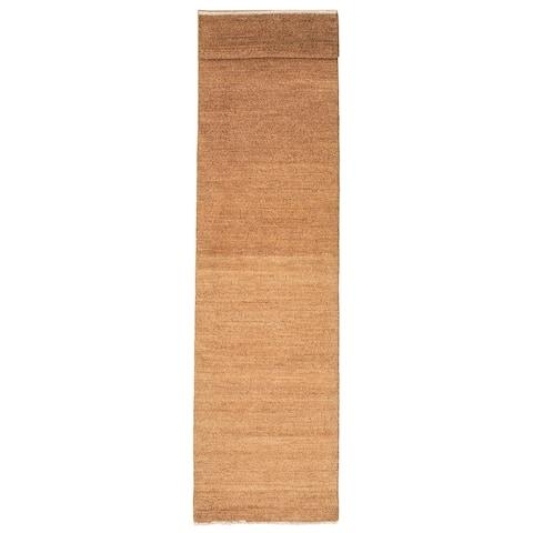 ECARPETGALLERY Hand-knotted Pak Finest Gabbeh Brown Wool Rug - 2'6 x 11'3