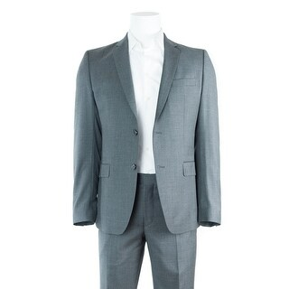 Versace Men's Solid Gray 100% Wool Two Button Suit Multiple