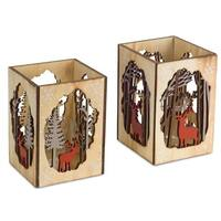Pack of 12 Decorative Red and Brown Candle Holder with Deer and Tree Cut-out