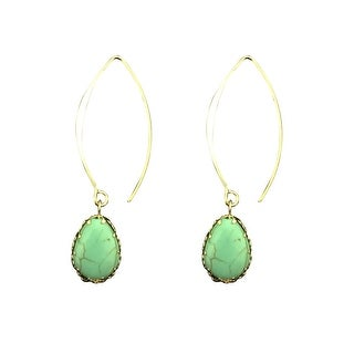 max & MO Open Hoop Gold Turquoise Teardrop Earring - gold/turquoise