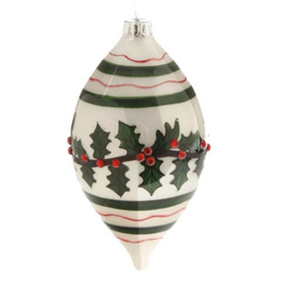 """5.5"""" Glossy White, Red, and Green Jeweled Holly Glass Finial Christmas Ornament - RED"""