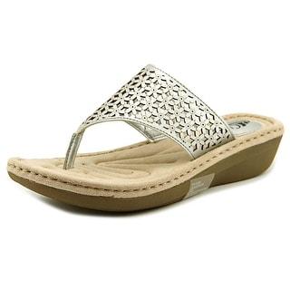 White Mountain Caviar Women Open Toe Synthetic Silver Slides Sandal