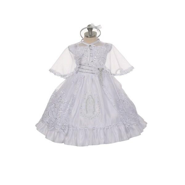 Rain Kids Little Girls White Virgin Mary Sequin Brooch Cape Baptism Dress 2-6
