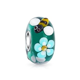 Bling Jewelry 925 Silver Teal Bee Flower Murano Glass Bead Charm