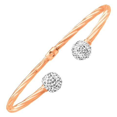 Silver Orchid Normand Crystaluxe Cuff Bracelet with Swarovski Crystals in 14K Rose Gold-Plated Sterling Silver - White