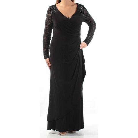 Womens Black Long Sleeve Full Length Shift Formal Dress Size: 12