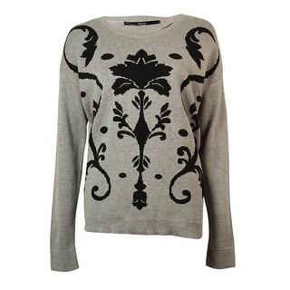 kensie Women's Damask Intarsia Crewneck Sweater