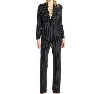 Le Suit Black Beach Women's Size 16 Striped Pant Suit 3-Piece Set