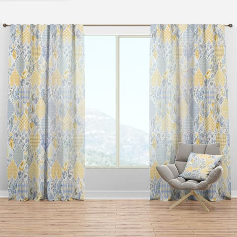 Designart 'Patchwork Pattern with Hearts' Patterned Curtain Panel