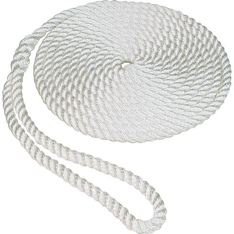 "SeaSense 50013011 Twisted Nylon Dockline, White, 1/2"" x 25'"