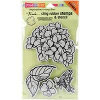 "Stampendous Cling Stamps & Stencil 9""X5.25""-Jumbo Hydrangea Garden"