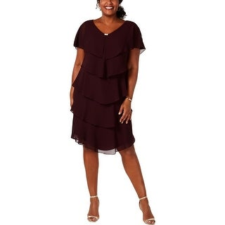SLNY Womens Plus Capelet Dress Embellished Cocktail