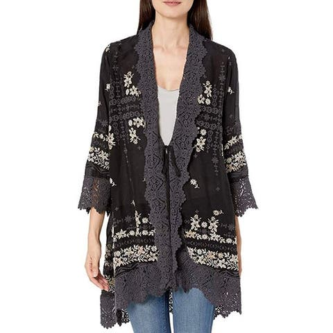 Johnny Was Rayon Embroidered Cardigan