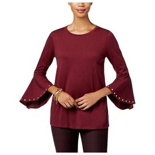 MICHAEL Michael Kors Womens Petites T-Shirt Bell Sleeves Studded - P