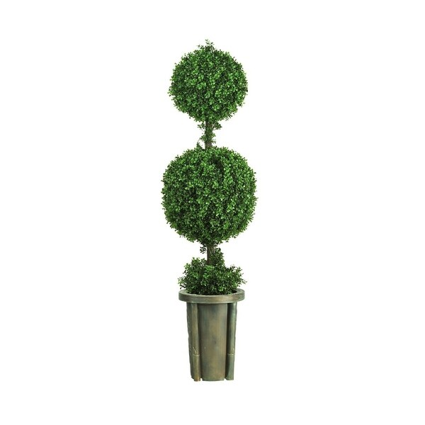 Nearly Natural 5' Double Ball Leucodendron Topiary with Decorative Vase Arrangement - Green