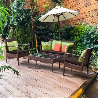 Costway 4 PCS Patio Rattan Wicker Furniture Set Brown Loveseat Sofa Cushioned Garden Yard