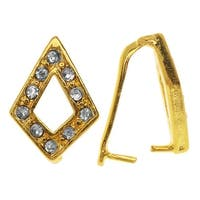 Gold Toned Brass Pinch Bail with Kite Shape, 15mm Glass Rhinestone Encrusted, 1 Piece