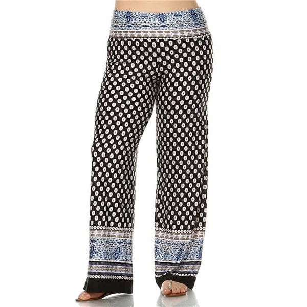 2930a31452d4 Shop PS550-153-2XL Womens Plus Size Printed Palazzo Pants, Black & - Free  Shipping On Orders Over $45 - Overstock - 23193539