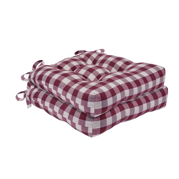 Buffalo Check Tufted Chair Seat Cushions - Set of Two. Opens flyout.