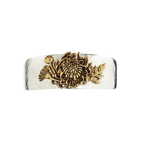 Women's Birth Month Flower Pewter Cuff Bracelet - November - Silver