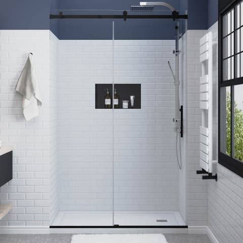 """FELYL 44-48"""" W × 76"""" H Single Sliding Frameless Shower Door with Heat Soaking Process and Protective Coating Clear Glass"""