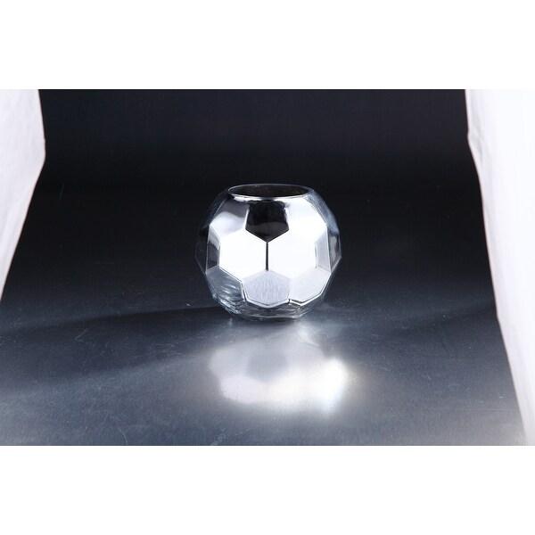 "7"" Silver Shiny Hexagon Hand Blown Glass Vase Tabletop Decor - N/A"