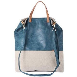Mad Style Blue Mixed Media Slouch Tote