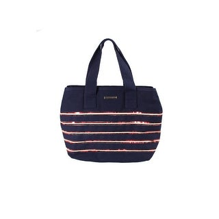 Tommy Hilfiger Navy Striped Sequin Canvas Flag Tote Bag OS