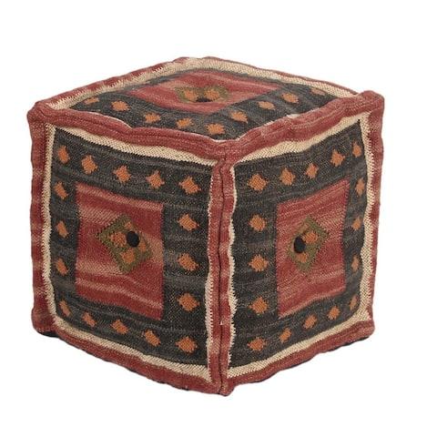 Handmade Indo Upholstered Pouf