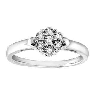 Flower Cluster Ring with Diamonds in Sterling Silver