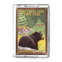 Deep Creek Lake State Park, Maryland - Bear in Forest - Lantern Press Artwork (Acrylic Serving Tray)