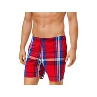 Tommy Hilfiger Mens Plaid Lightweight Swim Trunks