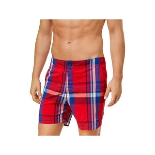 Tommy Hilfiger Mens Plaid Lightweight Swim Trunks