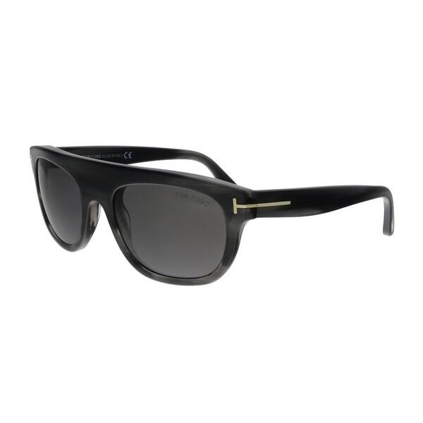 1f75aa1b55 Tom Ford FT0594 20A Federico-02 Dark Grey Horn Rectangular Sunglasses - No  Size