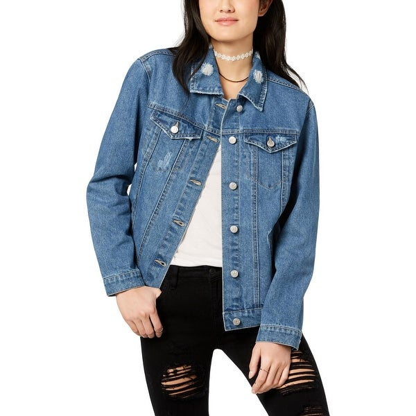 5ff961ad558a8 Crave Fame by Almost Famous Womens Denim Jacket Spring Distressed