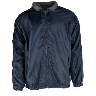 Ten West Apparel Mens Reversible Fleece and Windbreaker Rain Jacket with Stripes