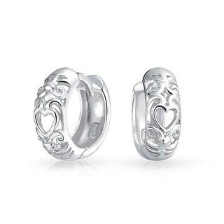 Bling Jewelry Sterling Silver Open Heart Filigree Small Hoop Hoop Earrings