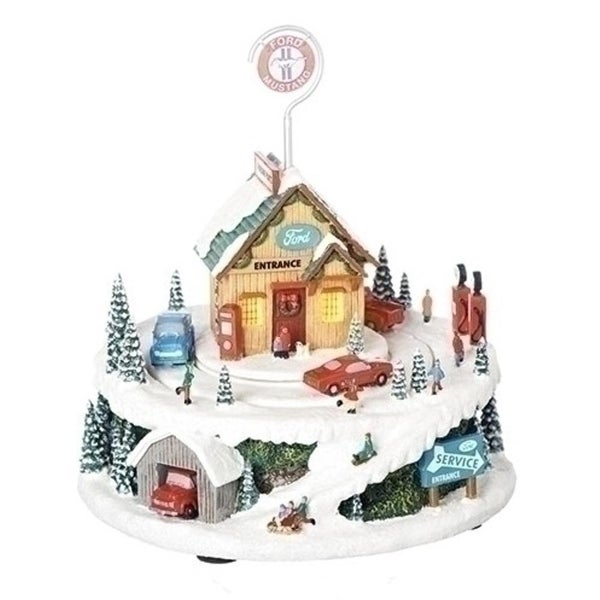 "7.25"" Musical LED Ford Service Station with Revolving Cars Decorative Figurine"