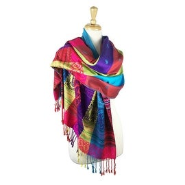 """Pashmina Wrap Shawl Scarf Double Side Rainbow Silky Exotic Tropical Colorful - turqouise - 28"""" x 70"""" with fringes"""