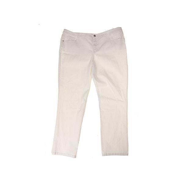 f66b732246f Shop Style   Co Plus Size Beige Slim-Leg Jeans W - Free Shipping On ...