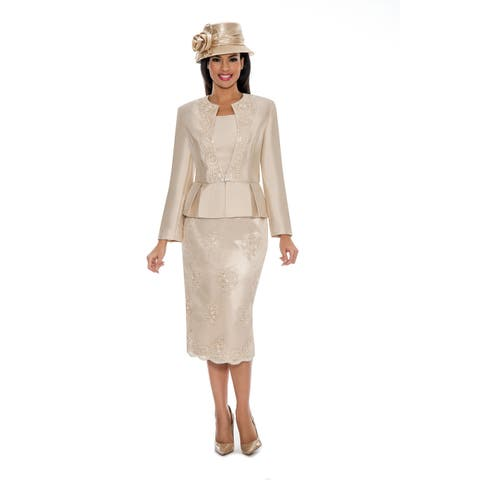 Giovanna Collection Women's Soutache Embellished Peplum 3-Pc Skirt Suit
