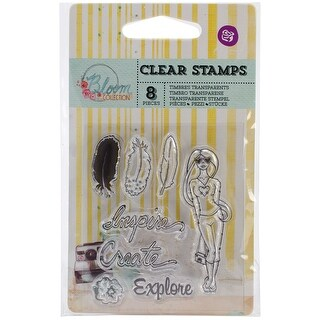 "Bloom Clear Stamps 2.5""X3""-Inspire, Create, Explore"