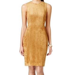 Calvin Klein NEW Brown Women's Size 6 Sheath Faux-Suede Seamed Dress